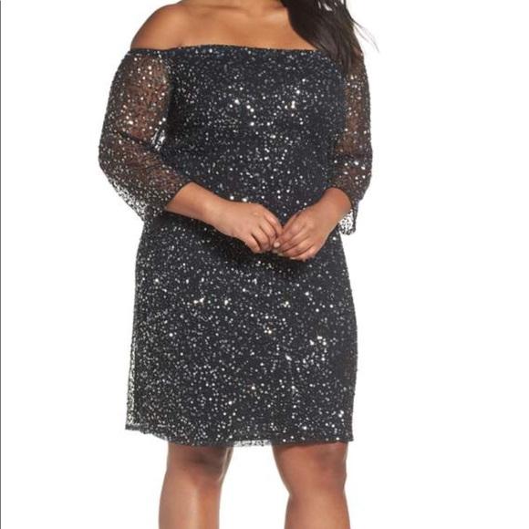 Pisarro Nights Dresses Plus Size Black Beaded Off The Shoulder